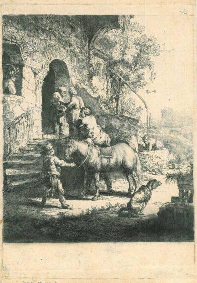 Rembrandt, etching, Bartsch B. 90, The good Samaritan