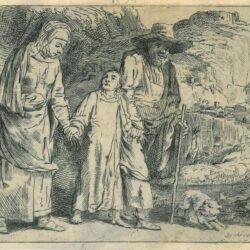 Rembrandt, etching, Bartsch B. 60, Jezus keert terug uit de tempel met Jozef en Maria