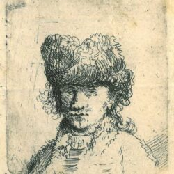 Rembrandt, etching, Bartsch b. 24, Self portrait in a fur cap: bust