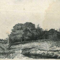 Landschap met een hooimijt en een kudde schapen, Rembrandt ets, Bartsch, B. 224