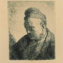 Rembrandt, Etching, Bartsch B. 307, A man in fur cap, stooping