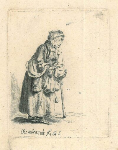 Rembrandt, etching, Bartsch 170, New Hollstein 229, Beggar woman leaning on a stick