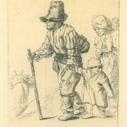 Rembrandt etching, Bartsch B. 131, Peasant family on the tramp