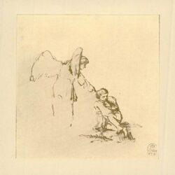 Rembrandt, tekening, De engel en Tobias met de vis