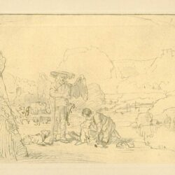 Rembrandt, tekening, Tobias trekt de vis op het droge