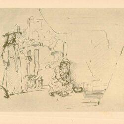 Rembrandt, tekening, hofstede de groot 226, Christus verschijnt als tuinman aan Maria Magdalena