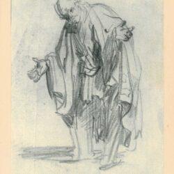 Rembrandt, tekening, hofstede de groot 233, Een oude man met uitgestrekte armen