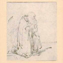 Rembrandt, tekening, hofstede de groot 236, Een oude man knielt in gebed