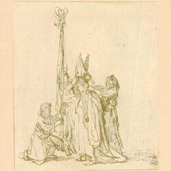 Rembrandt, tekening, de investituur van een bisschop