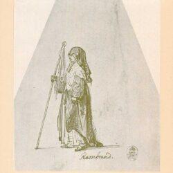 Rembrandt, tekening, hofstede de groot 239, non met vaandel