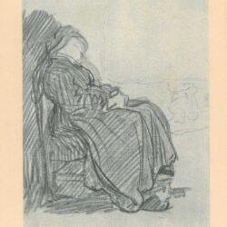 Rembrandt, tekening, hofstede de groot 243, slapende oude vrouw op een stoel