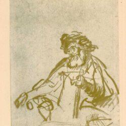 Rembrandt, tekening, hofstede de groot 245, Zittende oude man met stok