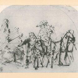 Rembrandt, zeichnung, hofstede de groot 260, Ausritt einer Dame zur Falkenjagd