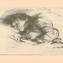 Rembrandt, zeichnung, hofstede de groot 271, Schlafendes Kind im Bett