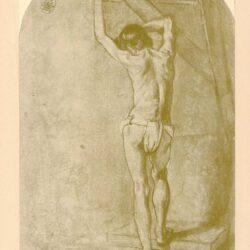 Rembrandt, Zeichnung, Hofstede de groot 274, Stehender männlicher Rückenakt, an ein Gerüst gelehnt