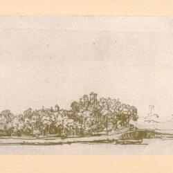Rembrandt tekening, hofstede de groot 285, Hoeve tussen bomen aan de Amstel