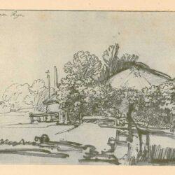 Rembrandt, tekening, hofstede de groot 286, Boerenhoeve tussen de bomen