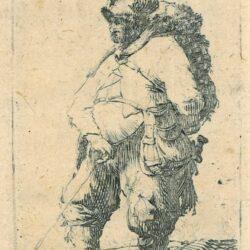 Rembrandt Etching, Bartch b. 190, New Hollstein 52, A man making water