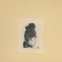Rembrandt etching, New Hollstein 35, copy c, Bartsch B. 326, GROTESQUE PROFILE: MAN IN A HIGH CAP
