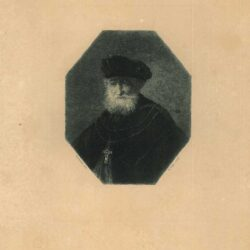 Rembrandt, painting, Bust of an old bearded man wearing a golden chain with a cross