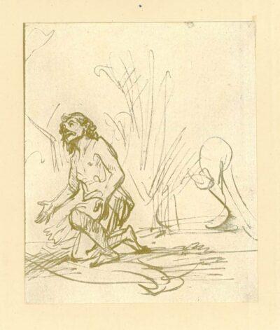 Rembrandt, zeichnung, hofstede de groot 234, Jonas im Zwiegespräch mit Gott
