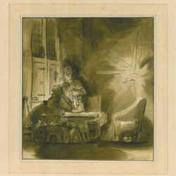 Rembrandt, drawing, Benesch C 47, The supper at Emmaus