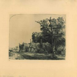 Rembrandt, Etching, Bartsch B. 217, Landscape with three gabled cottages beside a road