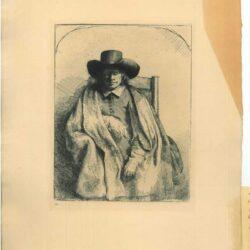 Rembrandt, etching, Bartsch B. 272, Clement de Jonghe, printseller (1624/25-1677)