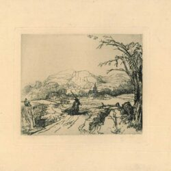 Rembrandt etching, Bartsch B. 211, Landscape with a shepherd and a dog or 'Het jagertje'