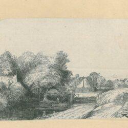 Rembrandt Etching, Bartsch B. 213, New Hollstein 255, copy c, Landscape with a fisherman ['Het melkboertje']