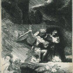 Rembrandt, etching, Bartsch B. 75, The agony in the garden