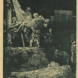 Rembrandt, etching, Bartsch B. 83, The descent from the cross by torchlight