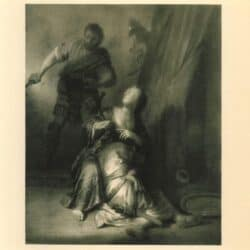 Rembrandt paiting While Samson sleeps in Delilah's lap, she beckons his enemies to come nearer and cut off his hair / Samson and Delilah (Judges 16:19)