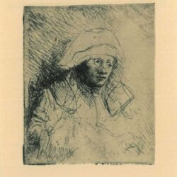 Rembrandt Etching, Bartch B. 359, Sick woman with a large white headdress [Saskia]