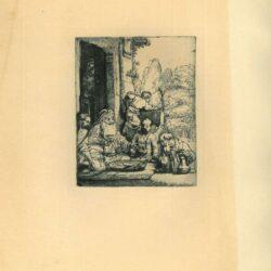 Rembrandt, Ets, Bartsch B. 28, Abraham onthaalt de engelen