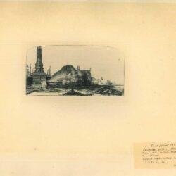 Rembrandt, Ets, Bartsch B. 227, Landschapmet eenobelisk