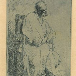 Rembrandt, etching, Bartsch b. 160, Old man in a long cloak sitting in an armchair