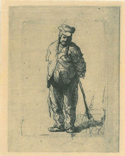 Rembrandt, etching, Bartsch b. 172, Ragged peasant with his hands behind him, holding a stick