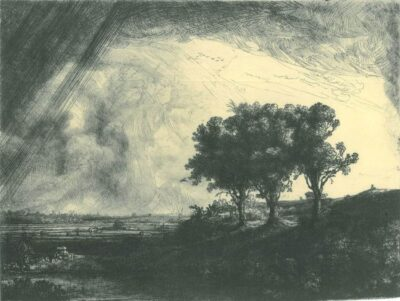 Rembrandt Etching, Bartch B. 212, The Three Trees