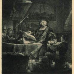 Rembrandt Etching, Bartch B. 281, Jan Uytenbogaert, [1606-84; 'The goldweigher']
