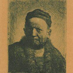 Rembrandt, etching, Bartsch b. 304, Man wearing a close cap: bust [The artist's father?]