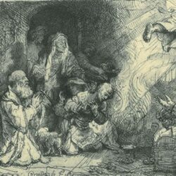 Rembrandt Etching, Bartch B. 43, The angel departing from the family of Tobias