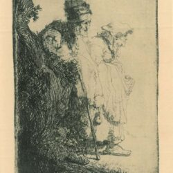 Rembrandt Etching, Bartch b. 165, Beggar man and woman behind a bank