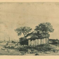 Rembrandt Etching, Bartch B.232, Cottage with a white paling