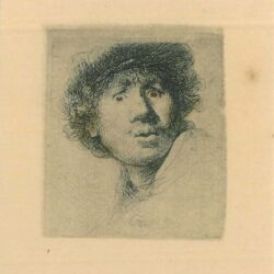Rembrandt Etching, Bartch B.320, Self portrait in a cap, with eyes wide open