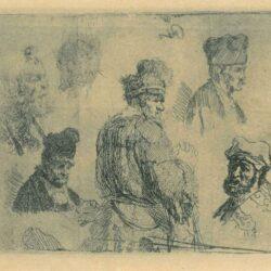"""Rembrandt Etching, Bartch 366, """"Oude man in bontjas en hoge muts Oude man in bontjas en hoge muts: detail van studieblad met manskoppen (B. 366)"""""""