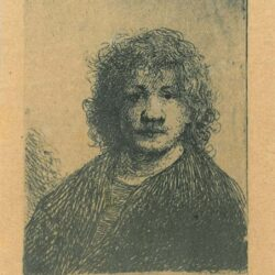 Rembrendt Etching, Bartch B.4, Self-portrait with a broad nose
