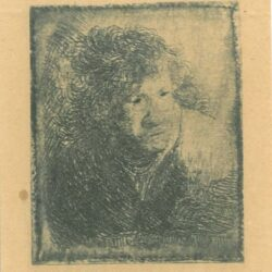 Rembrandt Etching, Bartch b. 9, Self portrait, leaning forward, listening