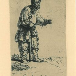 Rembrandt, Etching, Bartsch B. 133, A peasant in a high cap, standing leaning on a sticka