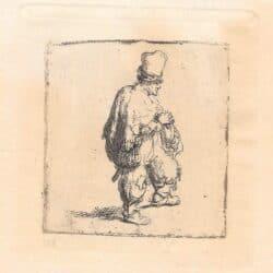 Rembrandt ets, Bartsch B. 140, Man met draaiorgeltje [Pool met zijn armen over elkaar]